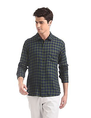 Ruggers Green Mitered Cuff Check Shirt