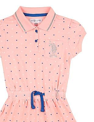 U.S. Polo Assn. Kids Girls Star Print Polo Dress