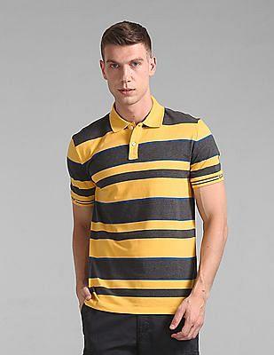 GAP Men Yellow Short Sleeve Striped Polo Shirt