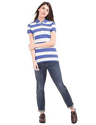 Nautica Striped Piqued Polo Shirt