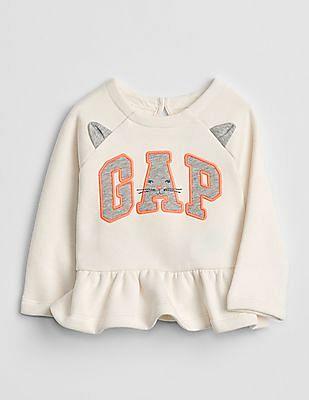 GAP Baby Logo Cat Peplum Sweatshirt