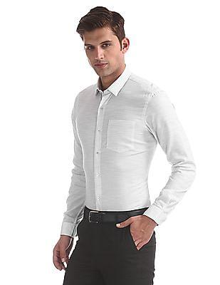 Arrow Newyork White Barrel Cuff Patterned Shirt