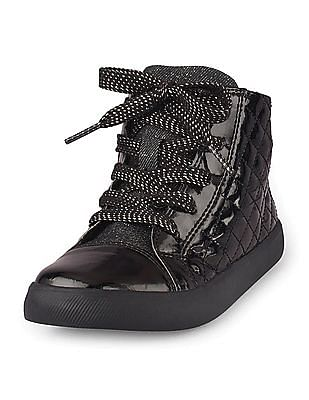 The Children's Place Girls Black Quilted Sneakers