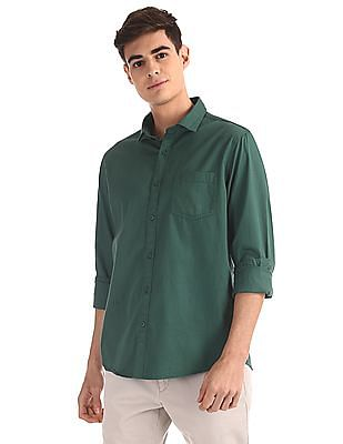 Ruggers Green Mitered Cuff Solid Shirt