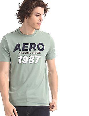Aeropostale Green Regular Fit Brand Applique T-Shirt