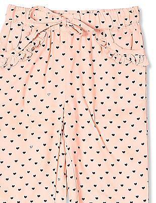 Donuts Pink Girls Elasticized Waist Printed Pants