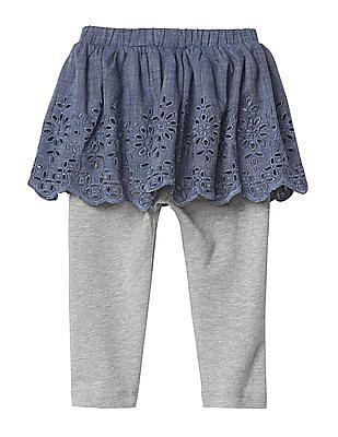GAP Baby Blue Eyelet Chambray Skirt Legging Duo