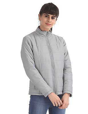 Flying Machine Women Grey Solid Puffer Jacket