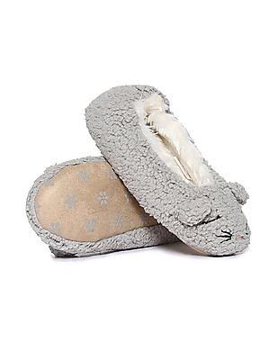 Aeropostale Faux Fur Round Toe Slippers