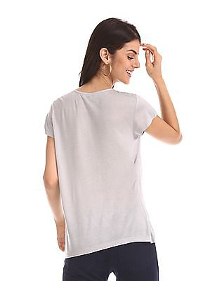 Cherokee Grey Round Neck Lace Accent Top