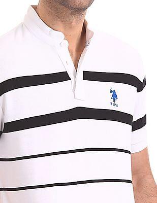 U.S. Polo Assn. Striped Mandarin Collar Polo Shirt