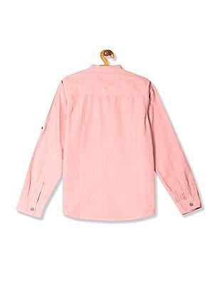 Cherokee Boys Mandarin Collar Patterned Shirt
