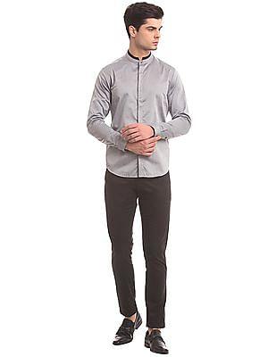 True Blue Mandarin Collar Herringbone Weave Shirt