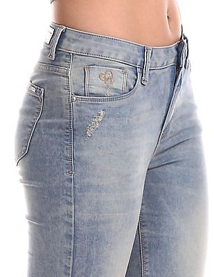 Flying Machine Women Blue Veronica Skinny Fit Washed Jeans