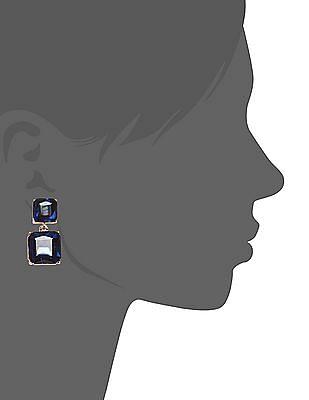 Unlimited Blue Push Back Embellished Drop Earrings