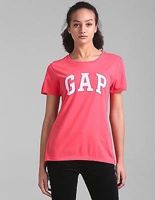 GAP Women Pink Logo Short Sleeve Crewneck T-Shirt