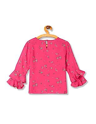 Cherokee Girls Floral Print Ruffle Sleeve Top