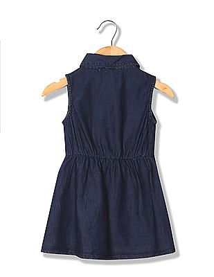 Donuts Girls Chambray Fit And Flare Dress