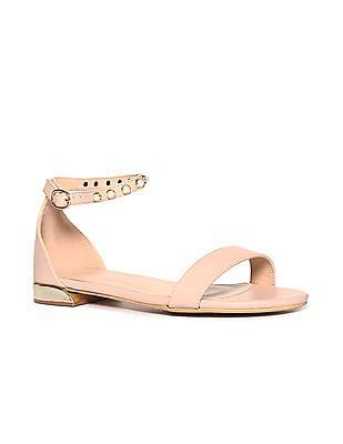 Pink Embellished Ankle Strap Sandals