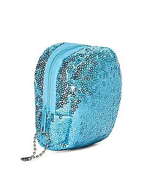 SUGR Blue Sequin Embellished Coin Pouch