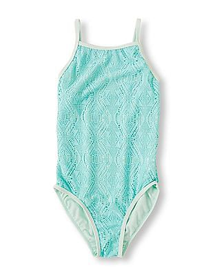 The Children's Place Girls Blue Double Layer One-Piece Swimsuit