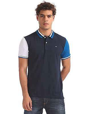 Arrow Sports Short Sleeves Colour Blocked Polo Shirt