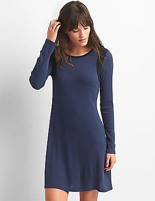 GAP Colour Block Ribbed Swing Dress