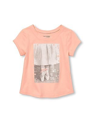 The Children's Place Toddler Girl Active Short Rolled Sleeve Embellished Graphic Top