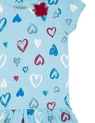 Cherokee Girls Heart Print Knitted Tunic