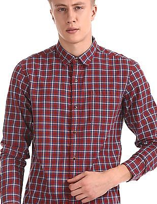 Ruggers Red Rounded Cuff Check Shirt