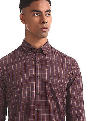 Arrow Sports Brown Button Down Collar Check Shirt