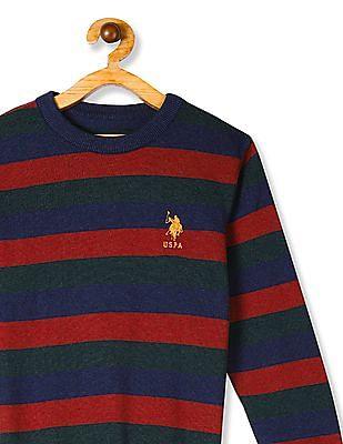 U.S. Polo Assn. Kids Multi Colour Boys Crew Neck Striped Sweater