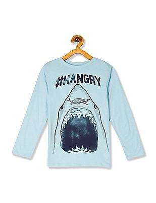 The Children's Place Boys Long Sleeves 'Hashtag Hangry' Shark Graphic Tee