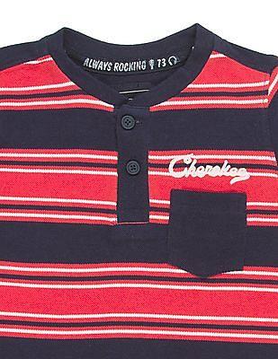 Cherokee Boys Striped Pique Henley T-Shirt