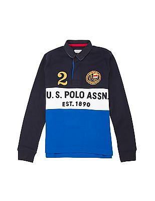 U.S. Polo Assn. Kids Boys Long Sleeve Ribbed Knit Polo shirt