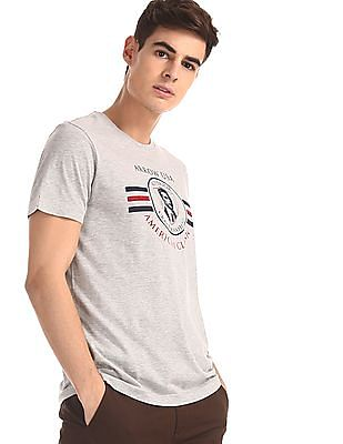 Arrow Sports Grey Crew Neck Brand Print T-Shirt