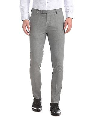 Arrow Newyork Grey Super Slim Fit Patterned Weave Trousers