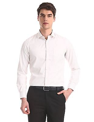 Excalibur White And Beige Vertical Stripe Shirt
