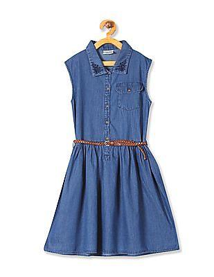 Cherokee Girls Sleeveless Belted  Denim Dress