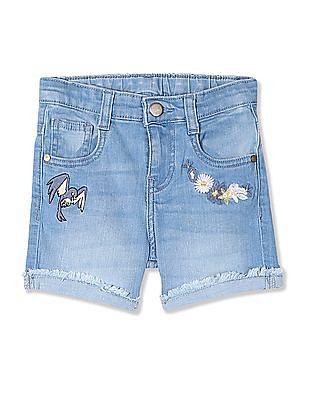 Colt Blue Girls Embroidered Denim Shorts