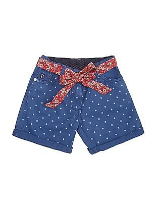 U.S. Polo Assn. Kids Girls Polka Print Twill Shorts