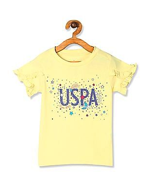 U.S. Polo Assn. Kids Yellow Girls Ruffle Sleeve Printed Top