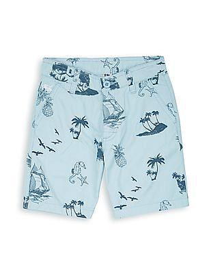 FM Boys Boys Beach Print Regular Fit Shorts