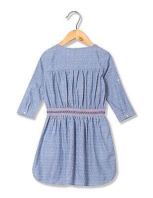 U.S. Polo Assn. Kids Girls Smock Waist Fit And Flare Dress