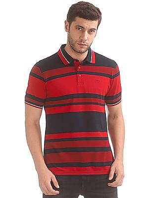ee8eea96 Buy Men Striped Slim Fit Polo Shirt online at NNNOW.com
