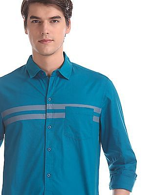 Colt Blue Front Stripe Cotton Shirt