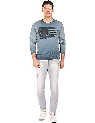 Ed Hardy Printed Front Overdyed Sweatshirt