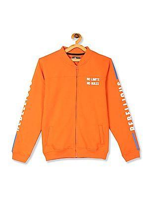 FM Boys Orange Boys High Neck Printed Sweatshirt
