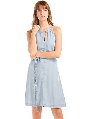 GAP 1969 Tencel Denim Braid Halter Dress