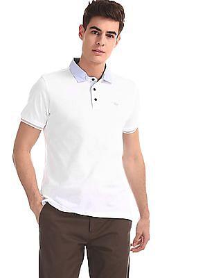 Arrow Sports White Striped Collar Mercerized Cotton Polo Shirt